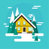 Vector winter landscape. Flat design. Mountains, buildings, trees and snow. Royalty Free Stock Photography