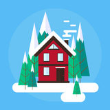 Vector winter landscape. Flat design. Mountains, buildings, trees and snow. Royalty Free Stock Photos