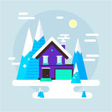 Vector winter landscape. Flat design. Mountains, buildings, trees and snow. Stock Photo