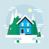 Vector winter landscape. Flat design. Mountains, buildings, trees and snow. Royalty Free Stock Photo