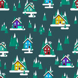 Vector winter landscape. Flat design. Seamless pattern with buil Stock Photo