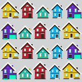 Vector winter landscape. Flat design. Seamless pattern with house Royalty Free Stock Photography