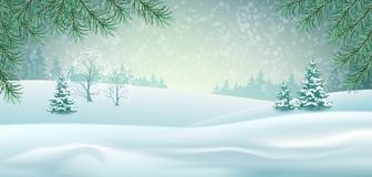 Vector Winter Landscape. With gifts and snow covered hills. Christmas header Stock Photos