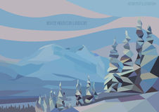 Vector winter landscape with ice mountains and trees Stock Photos