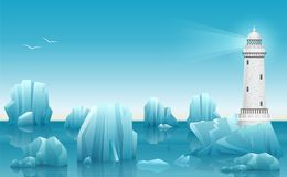 Vector Winter landscape of Lighthouse in the ice arctic ocean or sea with icebergs. Stock Photo
