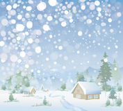 Vector of winter landscape. Merry Christmas! Royalty Free Stock Photography