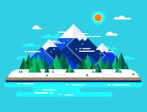 Vector winter landscape. Mountains, nature, trees and snow. Stock Photo