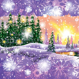 Vector winter landscape. Painting with hut and fir trees in purple tones, Sunset gamma. Royalty Free Stock Image