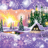 Vector winter landscape. Painting with hut and fir trees in purple tones, Sunset gamma. Stock Photos