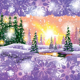 Vector winter landscape. Painting with hut and fir trees in purple tones, Sunset gamma. royalty free illustration