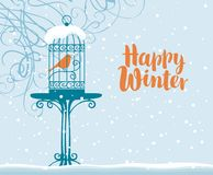 Winter banner with bird in cage under branches Royalty Free Stock Photos