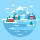 Vector winter landscape. Ski resort - flat design. Stock Photography
