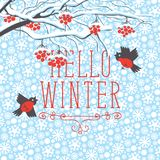 Winter landscape with snow-covered Rowan and birds vector illustration