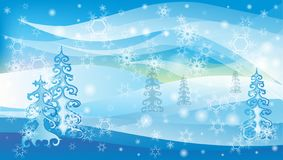 Vector winter landscape with white snowflakes and trees royalty free stock images