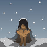 Vector winter lonely homeless people Royalty Free Stock Image