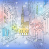 Vector winter Medieval Old Town, Tallinn, Estonia Stock Photo