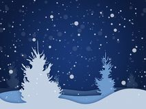 Vector winter night forest background with falling snow. Holiday landscape for Merry Christmas Stock Images