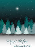 Vector Winter Night Landscape with Star of Bethlehem Royalty Free Stock Photos