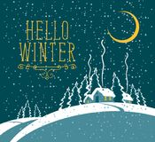 Winter night landscape with snow-covered village. Vector winter night landscape with village in the snowy forest with a growing moon. Lettering Hello Winter Stock Images