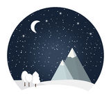 Vector of winter night landscape. Royalty Free Stock Photos