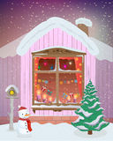 Vector winter night scene of window with Christmas candles, lights and gifts. Vector Stock Image