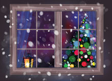 Vector winter night scene of window with Christmas tree and lant Stock Photo