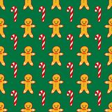 Vector winter pattern for decoration design with gingerbread man and candy on green background. New year background decoration. Vector winter pattern for royalty free illustration