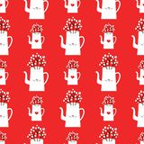 Vector winter pattern with kettles royalty free illustration