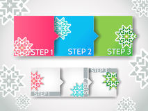 Vector winter progress steps / arrow stickers set Stock Images