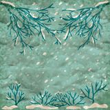 Vector winter retro background Royalty Free Stock Image