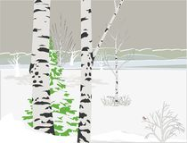Vector Winter River - Illustration Royalty Free Stock Images
