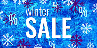 Vector winter sale banner. Text and snowflakes on watercolor blue frozen background. Business seasonal shopping concept. Royalty Free Stock Photo