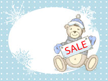 Vector Winter Sale Card with toy bear Stock Image