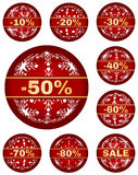Vector winter sale tags with 10 - 80 percent text. Sale tags for christmas or new year or winter sale out. Percentage discount.  red set with abstract christmas Stock Photography
