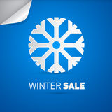 Vector Winter Sale Title and Snowflake. On Blue Background Stock Photography