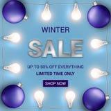 End of season sale banner with Christmas lights and bulbs. royalty free stock photo