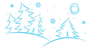 Vector winter scene. The figure shows a winter scene Royalty Free Stock Photo