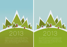 Vector winter scene. - christmas motive. Snowy winter landscape with place for you text. Vector illustration Stock Images