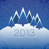 Vector winter scene. - christmas motive. Snowy winter landscape with place for you text. Vector illustration Stock Photos