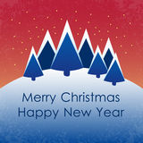 Vector winter scene. - christmas motive. Snowy winter landscape with place for you text. Vector illustration Stock Photo