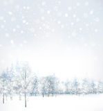 Vector of winter scene with forest background. Royalty Free Stock Photo