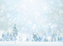 Vector winter scene with forest background. Royalty Free Stock Images