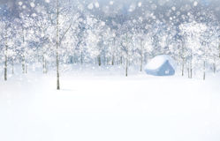 Vector winter scene with house in forest. Royalty Free Stock Photo