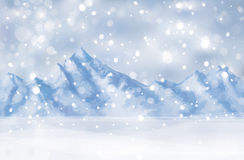Vector of winter scene with mountain background. Royalty Free Stock Image