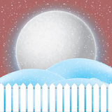 Vector of winter scene, white snow and blue sky. Stock Image