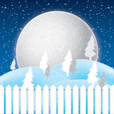 Vector of winter scene, white snow and blue sky. Stock Photos