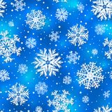 Vector winter seamless pattern, background with 3D paper cut out  snowflakes Stock Image