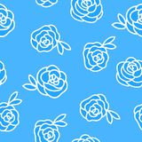 Vector Winter seamless pattern. Flower roses hand drawing white illustration isolated on blue background. vector illustration