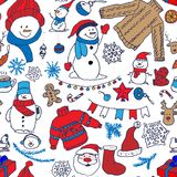 Vector winter seamless pattern with snowman, sweater and snowflakes Stock Photo