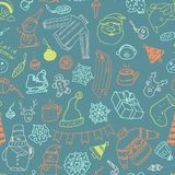 Vector winter seamless pattern with snowman, sweater and snowflakes. Vector winter seamless pattern.Cute hand drawn winter elements for greeting cards, postcards Stock Photo